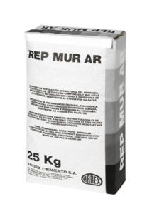 Mortero de reparación estructural reforzado con fibras e inhibidores de la corrosión REP-MUR AR